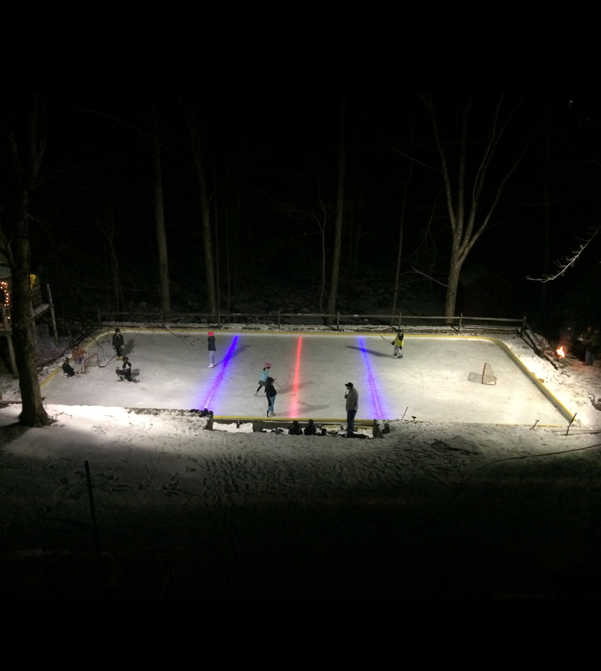 Nighttime View of Court with Under the Liner Led Nicelights by NiceRink